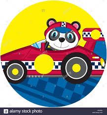 cartoon sports car cute cartoon panda bear motor racing driver with sports car stock