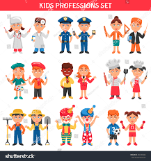 people professions cartoon icons set kids stock vector 466729682
