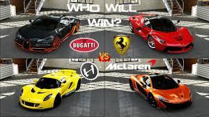 enzo vs lamborghini aventador forza 5 bugatti vs hennessey vs la vs mclaren p1 to
