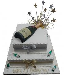 tiered champagne bottle cake