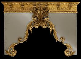Custom Design Draperies Drapery Cornice With Gold Finish Custom Made