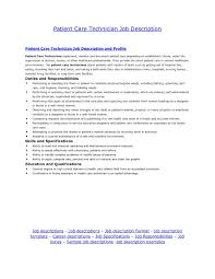 Job Responsibilities Resume by Astounding Patient Care Technician Resume With Patient Care
