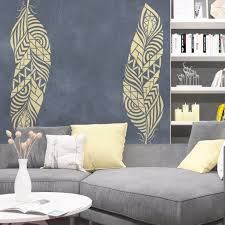 tribal feather stencil for walls large feather wall stencil