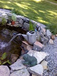 Backyard Ponds And Fountains Our Fish Pond With Watering Can Fountain For My Garden