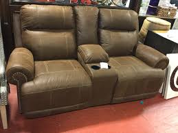 Reclining Loveseat W Console Austere Brown Double Reclining Loveseat W Console Consignment