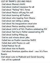 List Of All The Memes - list of trump s lies and fails lied about obama s birth lied