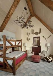 western home decor ideas in bedroom with rustic chandelier and