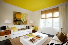 yellow ceiling paint color ideas with white wall for living room