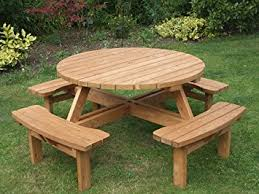 heavy duty round picnic table round picnic table amazon co uk garden outdoors