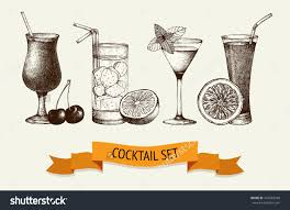 cocktail vector vector set vintage cocktails berries fruits stock vector 201689348