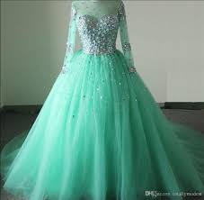 long sleeves green ball gown modest prom dresses sleeves beaded