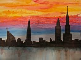 a watercolor painting of the silhouetted skyline of new york city with a blazing and radiant sunset as seen from the water during the early 20th century