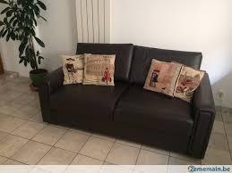 canape lit en cuir divan lit clip clap sofa cuir bon état canapé convertible a vendre