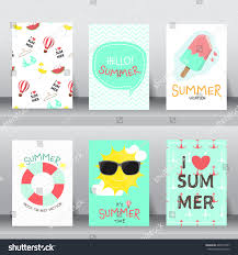Invite Card Size Summer Holiday Vacation Poster Set Flat Stock Vector 440310787