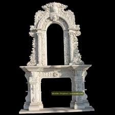 marble vintage baroque marble fireplace surround double overmantels