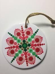 hand painted ceramic christmas ornament mandala art dot art