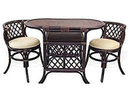 rattan kitchen furniture amazon com borneo compact dining set table 2 chairs brown