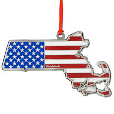 State Flag Of Massachusetts America Christmas Ornament Chowdaheadz