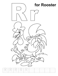 r for rooster coloring page with handwriting practice download