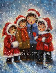 christmas carolers four print four daughters four singing