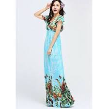 ts bohemia print hem short sleeves beach maxi dress random prints