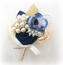 navy blue corsage boutonniere ivory navy blue chagne gold