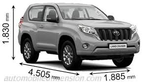 weight of toyota land cruiser dimensions of toyota cars showing length width and height