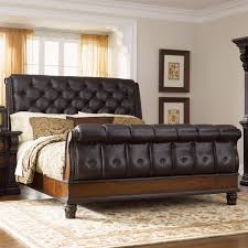 Black Leather Sleigh Bed Fairmont Designs Grand Estates King Sleigh Bed W Leather
