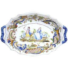 painted platter 19th century painted oval platter with handles from rouen