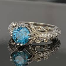 zircon rings images Vintage look blue zircon ring jpg