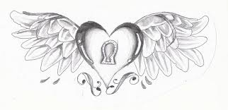 sketches of hearts sketch drawing heart ribbon stock photos images