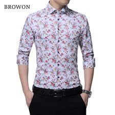 blouse for browon design autumn mens floral shirt print fashion