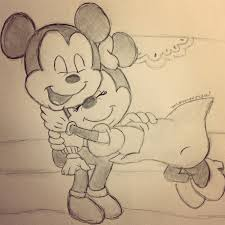 sketches for mickey and minnie mouse kissing sketches www