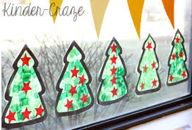 christmas window decorations tissue paper christmas tree craft window decorations