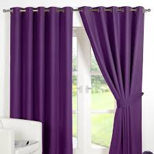 Silver Purple Curtains Ring Top Fully Lined Pair Eyelet Ready Made Curtains Luxury
