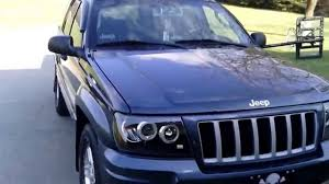 blue jeep grand cherokee 2004 jeep grand cherokee halo lights decked out youtube