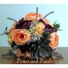 Groom S Boutonniere Coral Peach And Plum Purple Silk Flower Wedding Bouquet With