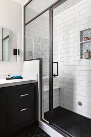 Beveled Subway Tile Shower by San Francisco Bathroom Remodel Steam Shower Black Hex Floor