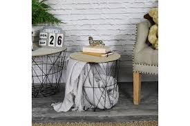 wire and wood basket side table vinterior vintage furniture midcentury antique design furniture