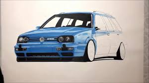 volkswagen drawing vw golf mk3 variant vr6 drawing youtube