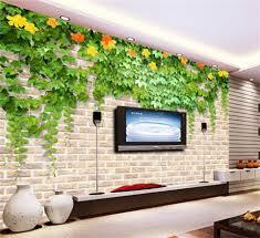 custom 3d photo wallpaper living room mural sticker green leaf flower brick wall 3d painting sofa