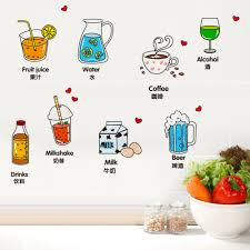 online shop cute drink home decoration wall sticker for kitchen