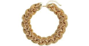 braided necklace images Lyst h m braided necklace in metallic jpeg