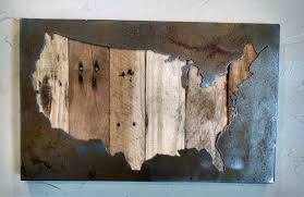Wall Map Of Usa by United States Map Usa Map Us Map Metal Art Reclaimed Wood