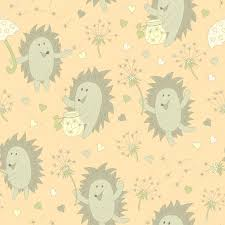 hedgehog wrapping paper pattern with hedgehog and dandelion stock vector anasutashiia