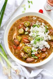 lot of 6 gumbo soup chicken crab and andouille sausage gumbo recipe foodiecrush com
