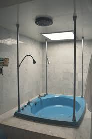 bathroom ideas blue acrylic shower tub combo with free standing bathroom ideas blue acrylic shower tub combo with free standing chrome metal faucet surroand at broken white ceramic panel the wonderful and expeditious