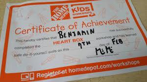 home depot kids workshop u2013 heart box the nazarian family blog
