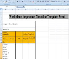 workplace inspection checklist template excel microsoft excel