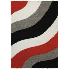 Red White Black Rug Circles And Rings Contemporary Black Red And Grey Hand Carved